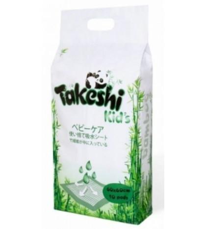 """Одноразовые впитывающие пеленки """"TAKESHI KIDS"""" бамбуковые 60*60 уп. 10шт"""