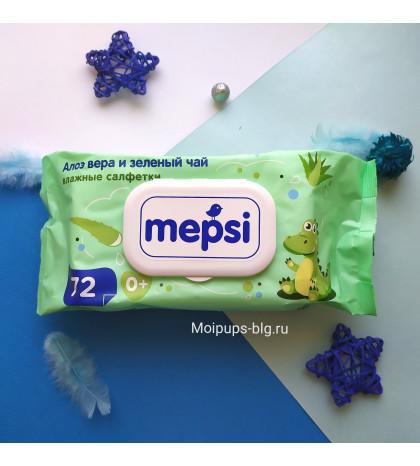 Влажные салфетки Mepsi с алоэ и зеленым чаем 72 шт
