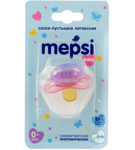 Соска-пустышка Mepsi латексная 0+ (анатомическая)