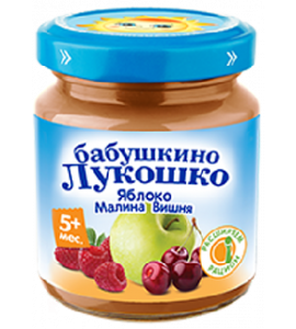 "Пюре Бабушкино лукошко ""Яблоко-малина-вишня"""